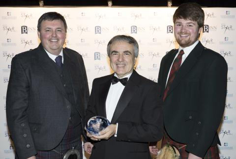 Tony Reeman-Clark and Liam Pennycook of Strathearn Distillery receiving The James Hutton Institute Excellence in Food & Drink Award from Derek Stewart
