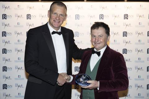 Sam Morshead formally of Perth Racecourse receiving Perthshire Chamber of Commerce Outstanding Achievement Award from President, Ross Graham