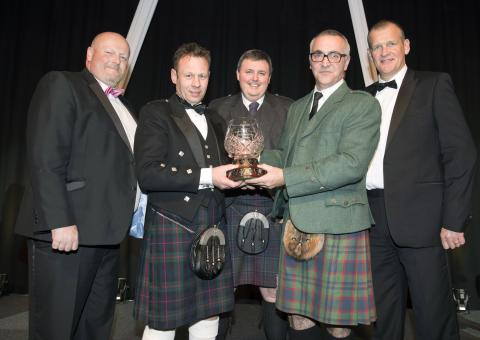 Euan Caldwell, Derek Stewart and Pete Iannetta of The James Hutton Institute receiving the Perthshire Chamber of Commerce Business of the Year 2016 Award from Allan McGregor, Binn Group and Chamber President, Ross Graham