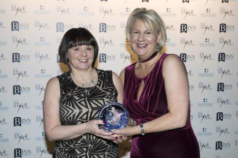 Anne Kinnes of The Black Watch Castle & Museum receiving the Fairways HR Business Support & Recruitment Specialists Excellence in Tourism & Leisure Award from Liz Jackson